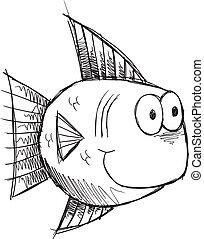 Cute Sketch Doodle Fish Vector