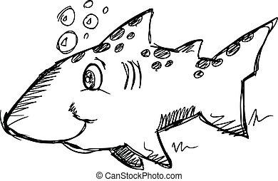Cute Sketch Doodle Shark Vector