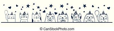 cute, sketch., engraçado, doodle, aniversário, animal, partido, gatos, celebration., design.