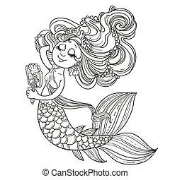 cute, skitseret, spejl, pige, havfrue, foran
