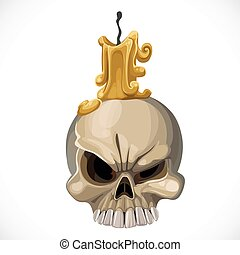Cute skull candle holder with a candle on top isolated on white background