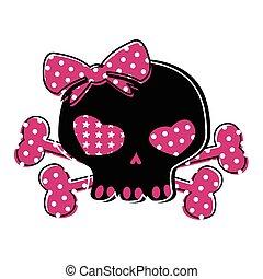 cute skull on crossbones