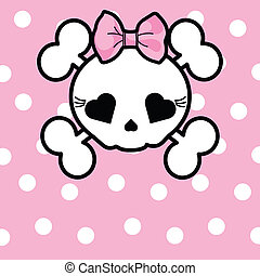 Cute Skull with bow - Very cute Skull with bow on dotted...