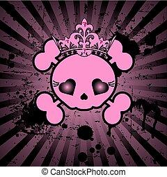 Cute Skull with crown - Very cute Skull with crown on grange...