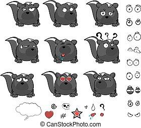 cute skunk ball cartoon expressions set