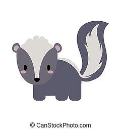 cute skunk kawaii, flat style icon