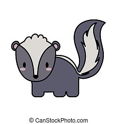 cute skunk kawaii, line and fill style icon