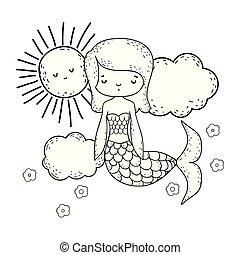 cute, skyer, havfrue, regnbue