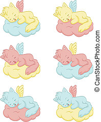 Cute sleeping angel-cats