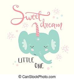 Cute sleeping baby elephant. Hand drawn vector illustration. For