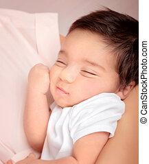 Cute sleeping baby portrait