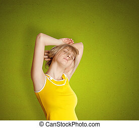 cute sleeping girl stretching