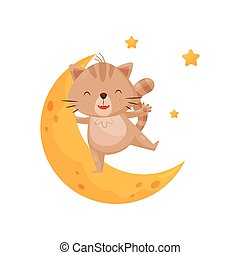 Cute sleeping kitten and moon, lovely animal cartoon character, good night design element, sweet dreams vector Illustration
