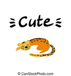 Cute sleeping leopard with lettering