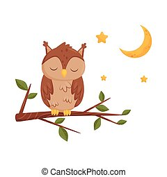 Cute sleeping owlet sitting on a branch, lovely bird cartoon character, good night design element, sweet dreams vector Illustration