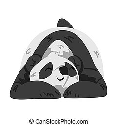 Cute Sleeping Panda Bear, Funny Wild Animal Cartoon Style Vector Illustration on White Background