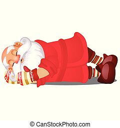 Cute sleeping Santa Claus isolated on white background. Sample of poster, party holiday invitation, festive card. Vector cartoon close-up illustration.