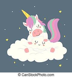 Cute Sleeping Unicorn Cartoon Vector