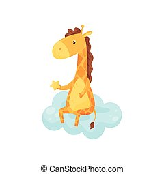 Cute sleepy little giraffe sitting on a cloud, lovely animal cartoon character, good night design element, sweet dreams vector Illustration