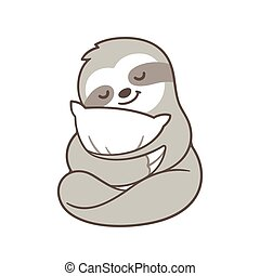 Cute sleepy sloth - Cute sleepy baby sloth hugging pillow....