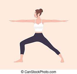 Cute slim woman in Virabhadrasana II or Warrior Pose. Female cartoon character demonstrating Hatha yoga posture. Girl performing gymnastics exercise during fitness workout. Flat vector illustration.