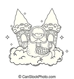 cute, slot, sky, havfrue