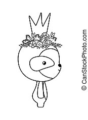 Cute sloth bear with crown vector design