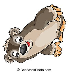 cute sloth character, cartoon illustration, isolated object on white background, vector illustration,