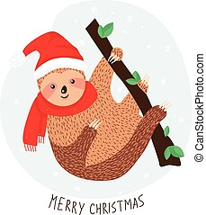 Cute sloth in Santa hat on the branch. Sweet sloth dressed up in winter style. Adorable Christmas animal. Vector
