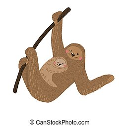 Cute sloth mom with baby isolated on white.
