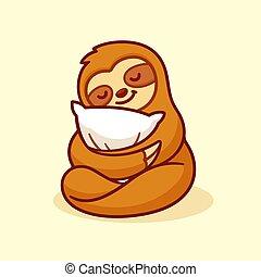 Cute sloth sleeping