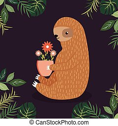 Cute sloth with a pot of flowers