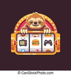 Cute sloth with a slot machine. Funny illustration about procrastination