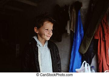 cute slut - portrait of a mischievous boy with a dirty face...