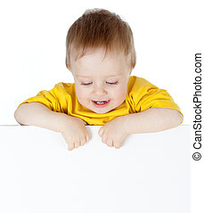 cute small child with blank advertising banner