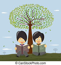Cute small girls reading a book under the big tree.