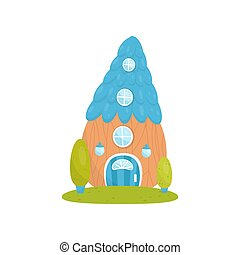 Cute small house with blue roof, fairytale fantasy house for gnome, dwarf or elf vector Illustration on a white background