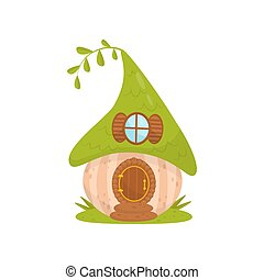 Cute small house with green roof, fairytale fantasy house for gnome, dwarf or elf vector Illustration on a white background