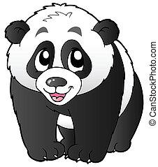 Cute small panda - vector illustration.