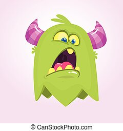 Cute small scared cartoon  monster. Satisfied green  monster emotion. Halloween vector illustration
