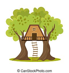 Cute small treehouse between two trees with stairs. Vector illustration in flat cartoon style