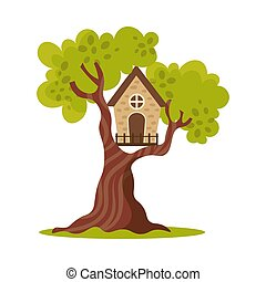 Cute small treehouse with one window. Vector illustration in flat cartoon style