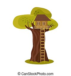 Cute small treehouse with stairs. Vector illustration in flat cartoon style