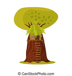 Cute small treehouse with the foliage roof and stairs. Vector illustration in flat cartoon style