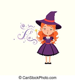 Cute small witch casts a spell with the magic wand. Young red-haired kid girl wearing purple dress and hat. Vector flat cartoon illustration isolated on white