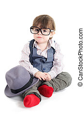 Cute smart baby kid sitting