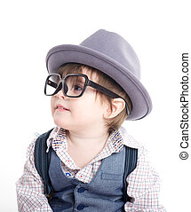 Cute smart baby kid with hat