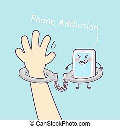 cute, smartphone, algemas, caricatura