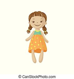 Cute smiing soft doll with braids, sewing toy cartoon vector Illustration