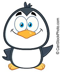 cute, smil, karakter, pingvin